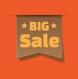 för försäljningsetikett för bakgrund stor orange vektor Royaltyfri Bild
