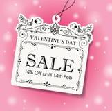 för försäljningsetikett för dag s valentin Arkivfoto