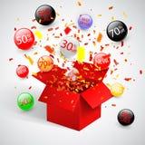 För försäljningsrabatt för specialt erbjudande symbol med öppna röda gåva- och flödesetiketter Enkelt att använda för din design stock illustrationer