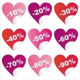 för försäljningsst för dag s valentin för etiketter Arkivfoto
