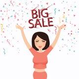 För försäljningstext för kvinnan firar det lyckliga stora leendet för framsidan shopparen vektor illustrationer