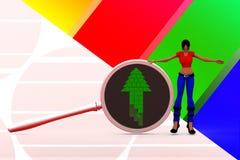 för förstoringsapparatpil för kvinnor 3d illustration Fotografering för Bildbyråer