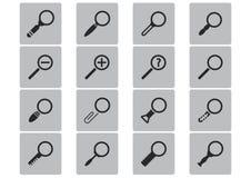 För förstoringsglassymboler för vektor svart uppsättning Arkivbild