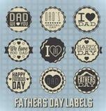 För faderdag för tappning lyckliga etiketter och symboler Royaltyfri Fotografi