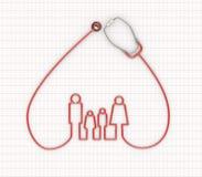 för familjhjärta för stetoskop 3d design för symbol Arkivfoton