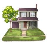 för familjhus för bakgrund 3d isolerad white illustration Royaltyfri Fotografi