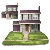 för familjhus för bakgrund 3d isolerad white illustration Arkivbilder