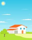 för familjhus för bakgrund 3d isolerad white illustration Plan design Royaltyfri Foto