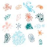 För fantasibeståndsdelar för färgrik hand som utdragen uppsättning isoleras på vit bakgrund Samling av olika original- former: pi royaltyfri illustrationer