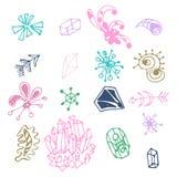 För fantasibeståndsdelar för färgrik hand som utdragen uppsättning isoleras på vit bakgrund Samling av olika original- former: pi stock illustrationer