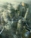 för fantasidatalista för stad 3d framtid past till royaltyfri illustrationer