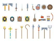 För fantasiRPG för medeltida modiga vapen sänker fastställda symboler för vektor designvektorillustrationen Arkivfoton