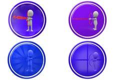 för farvälpil för man 3d symbol Fotografering för Bildbyråer