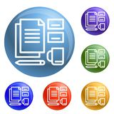 För fastställda fastställd vektor hjälpmedelsymboler för kontor stock illustrationer