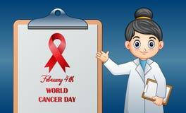 För Februari 4 för världscancerdag design för dag för cancer värld vektor illustrationer