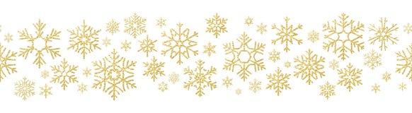 För feriegarnering för glad jul effekt Sömlös modell för guld- snöflinga 10 eps vektor illustrationer