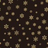 För feriegarnering för glad jul effekt Sömlös modell för guld- snöflinga 10 eps stock illustrationer