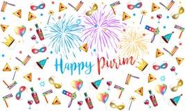 För feriehälsning för lycklig purim judiskt kort Arkivfoto
