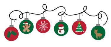 För ferieprydnader för glad jul hänga vektor illustrationer