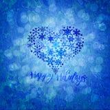 För feriesnöflingor för jul lycklig Shape för hjärta illustration Fotografering för Bildbyråer