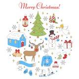 För feriesymboler för jul och för nytt år uppsättning stock illustrationer
