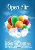 För festivalparti för öppen luft design för affisch Reklamblad- eller affischmall för öppen luft för sommar med färgrika ballonge royaltyfri illustrationer