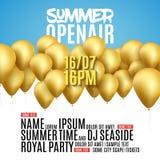 För festivalparti för öppen luft design för affisch Reklamblad- eller affischmall för öppen luft för sommar med guld- ballonger royaltyfri illustrationer