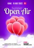För festivalparti för öppen luft design för affisch Reklamblad- eller affischmall för öppen luft för sommar med röda ballonger royaltyfri illustrationer