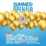 För festivalparti för öppen luft design för affisch Reklamblad- eller broschyrmall för sommar med guld- ballonger royaltyfri illustrationer
