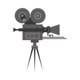 För filmfilm för lägenhet detaljerad yrkesmässig retro kamera Arkivbild