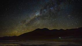 för filmfilm för 4k Timelapse gem av schackningsperioden för tid för mjölkaktig väg för universumgalax Röd lagun Laguna Colorada  lager videofilmer