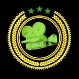 För filmkam för hög detaljerad tappning guld- symbol Vektor Illustrationer