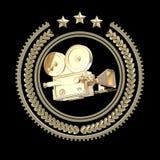 För filmkam för hög detaljerad tappning guld- symbol Royaltyfri Illustrationer