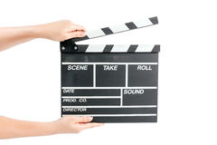 För filmproduktion för kvinna hållande bräde för clapper royaltyfri bild