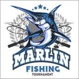För fiskelogo för blå marlin illustration också vektor för coreldrawillustration royaltyfri illustrationer
