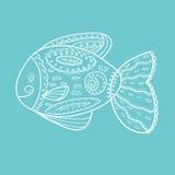 För fiskvektor för klotter knapphändig illustration stock illustrationer
