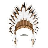 För fjäderhatt för vektor indisk stam- konst Royaltyfri Foto