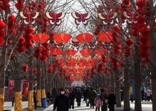 för fjädertempel för kinesisk ganska festival nytt år Fotografering för Bildbyråer