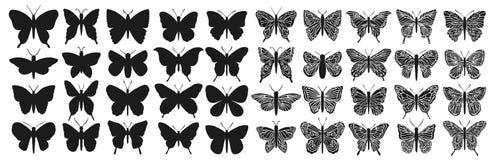 För fjärilskontur för design svart isolerad uppsättning Grafiskt krypklipp stock illustrationer