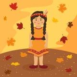 För flätad trådflicka för tacksägelse indisk tecknad film Fotografering för Bildbyråer