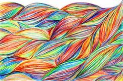 För flätad trådvågor för regnbåge färgrik bakgrund för textur för modell Arkivbilder