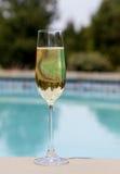 för flöjtpöl för champagne kall sida royaltyfria foton