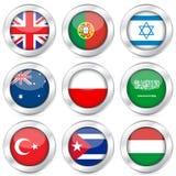 för flagganational för 4 knapp set royaltyfri illustrationer