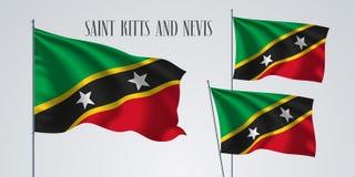 För flaggavektor för helgon Kitts och Nevis illustration Arkivfoto