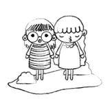 För flickabarn för Grunge trevlig frisyr i landskapet royaltyfri illustrationer
