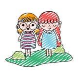 För flickabarn för klotter trevlig frisyr i landskapet vektor illustrationer