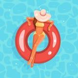 För flickabred-brätte för simbassäng kvinnlig illustration för vektor för design för lägenhet för cirkel för bad hatt royaltyfri illustrationer
