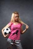 för flickafotboll för boll blont barn Royaltyfria Foton