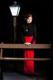 För flickagata för bio noir bänk för lyktstolpe Royaltyfri Fotografi