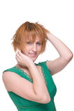 för flickagreen för tät klänning emotionell stående upp Royaltyfria Bilder